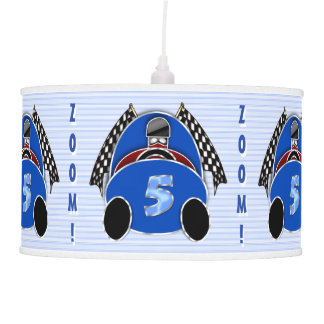 Art Deco Comic Style Blue Race Car (Personalized) Hanging Lamp