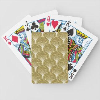 Art déco, concha de peregrino, modelo, oro, baraja cartas de poker