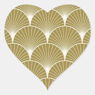 Art déco, concha de peregrino, modelo, oro, pegatina en forma de corazón