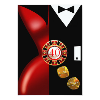 Art Deco Couple 40th Birthday Party | red black Card