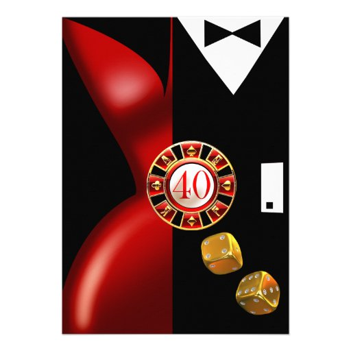 Art Deco Couple 40th Birthday Party | red black Custom Announcement