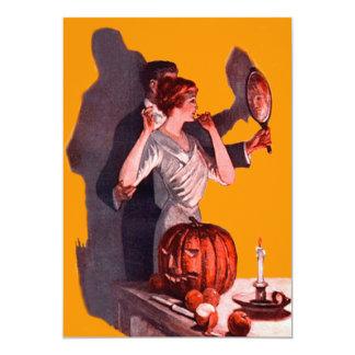 Art Deco Couple Mirror Jack O Lantern Pumpkin Card