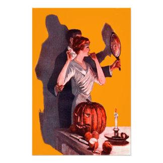 Art Deco Couple Mirror Jack O Lantern Pumpkin Photo Art