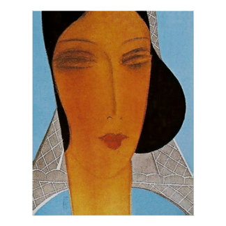 Art Deco Cover Large Head by Eduardo Benito Poster