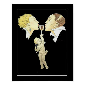 Art Deco Cupid with Couple Vintage Poster Poster