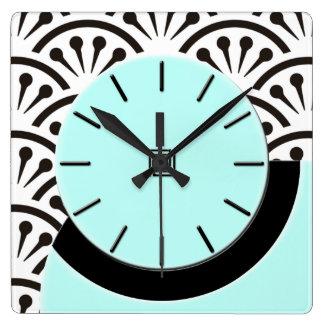 Art Deco Cut-A-Way (Aqua+Black) Square Wall Clock