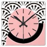 Art Deco Cut-A-Way (Plaza Pink+Black) Square Wallclocks