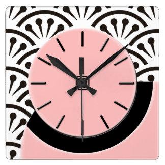 Art Deco Cut-A-Way Plaza Pink+Black Wall Clocks