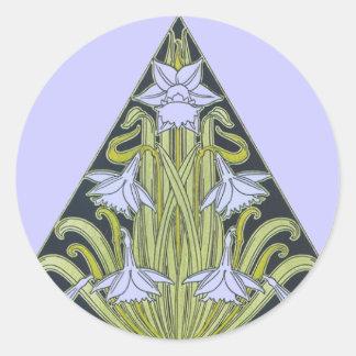Art Deco Daffodil Design Classic Round Sticker