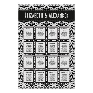 Art Deco Damask Wedding 16 Table Seating Chart Poster