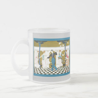 Art Deco Dance 10 Oz Frosted Glass Coffee Mug