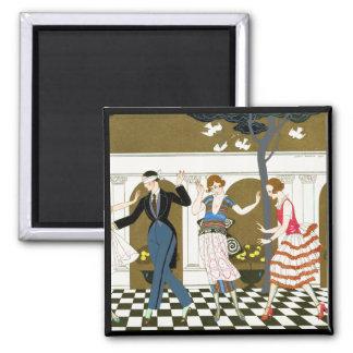 Art Deco Dance 2 Inch Square Magnet