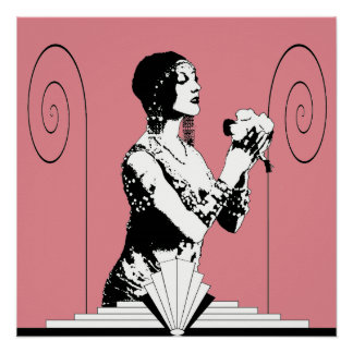 Art Deco Dancer with Flowers Poster