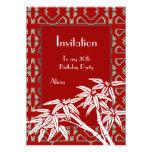 Art déco de bambú asiático blanco rojo de la invit comunicado personalizado