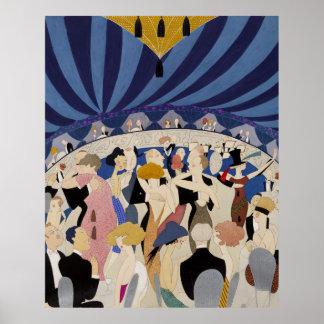 Art déco de la edad del jazz que baila arte del póster