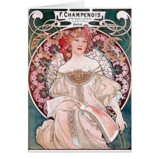 Art déco de la señora del vestido del rosa de Much Tarjeta De Felicitación