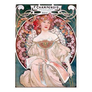 Art déco de la señora del vestido del rosa de tarjetas postales