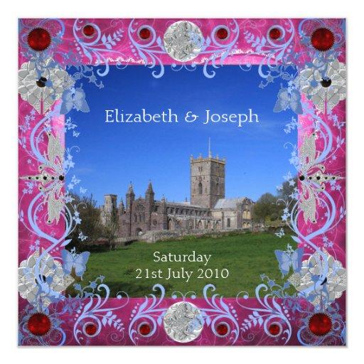 Art déco de los rubíes de la catedral que iguala a invitación 13,3 cm x 13,3cm