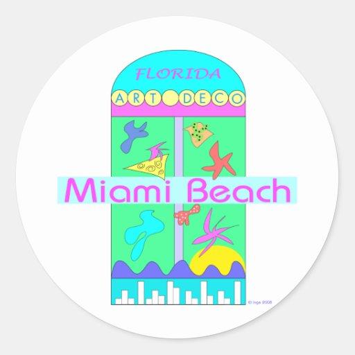 Art déco de Miami Beach (amor) Pegatina Redonda