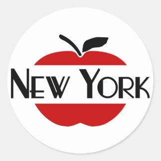 Art déco de Nueva York con 2-Color Apple, cortado Pegatina Redonda