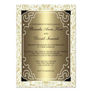 Art déco de oro de los años 20 que casa la invitación 12,7 x 17,8 cm