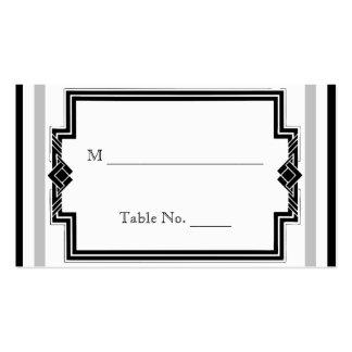 Art déco de plata blanco negro que casa tarjetas d tarjetas de visita