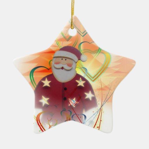 Art déco del árbol del corazón de San Nicolás Papá Adorno Navideño De Cerámica En Forma De Estrella