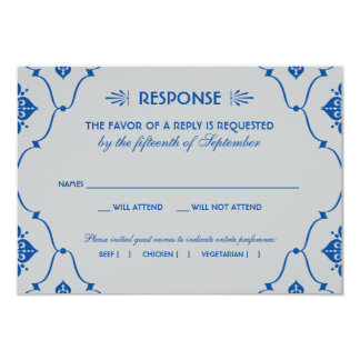 """Art déco del azul real de la tarjeta el   de RSVP Invitación 3.5"""" X 5"""""""