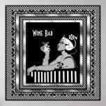 Art déco del bar de vinos del vintage del poster
