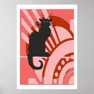 Art déco del gato negro póster