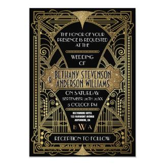 Art déco del negro y del oro del vintage que casa invitación 12,7 x 17,8 cm