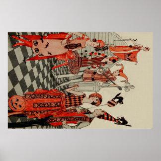Art déco del palo del búho del gato negro del póster