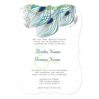 """Art déco del pavo real de los azules marinos de la invitación 5"""" x 7"""""""