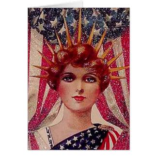 Art déco del poster del vintage de la señora Liber Tarjetas