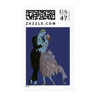 Art déco del vintage, danza del boda del amor de estampillas