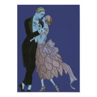 """Art déco del vintage, danza del boda del amor de invitación 5"""" x 7"""""""