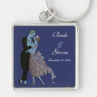 Art déco del vintage, danza del boda del amor de llavero cuadrado plateado