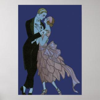 Art déco del vintage, danza del boda del amor de póster