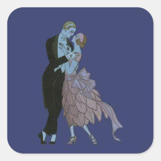 Art déco del vintage, danza del boda del amor de calcomanía cuadradas personalizadas