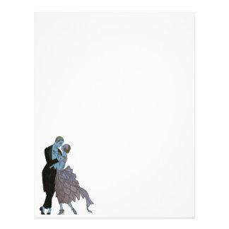 Art déco del vintage, danza del boda del amor de plantillas de membrete