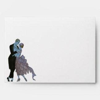 Art déco del vintage, danza del boda del amor de sobres