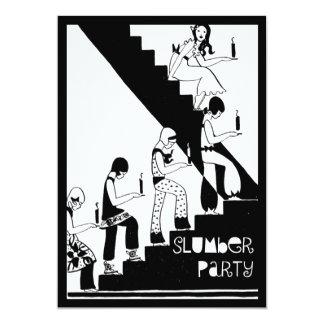"""Art déco del vintage de la fiesta de pijamas del invitación 5"""" x 7"""""""