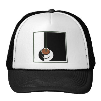Art déco del vintage, taza de café con vapor gorras