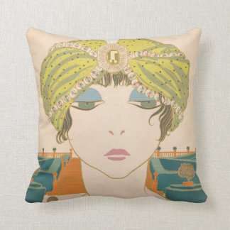 Art Deco Design Cotton Throw Pillow Flapper