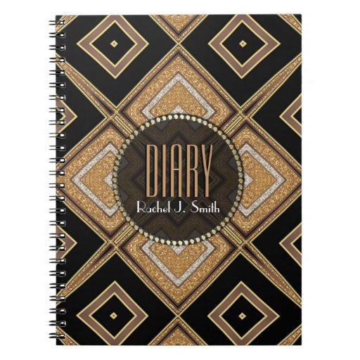 Art Deco Diamonds Black Gold Diary Notebook