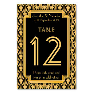 Art Deco Diamonds Pattern Wedding Table Number Card