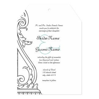 Art Deco Die Cut Wedding Invitation
