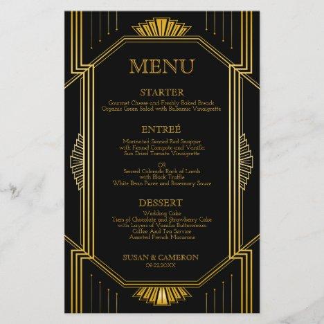 Art Deco Dinner Menu | Editable Color