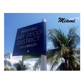 art deco district miami postcard