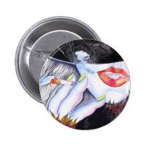 pretty, red lips, smoking, cigarette, beauty, art deco, woman, diva, watercolor, portrait, fashion, girl, red, contemporary, artsprojekt, Button with custom graphic design